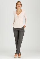 edit - Long Sleeve Knot Front Top Pale Pink