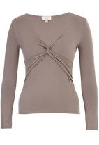 edit - Long Sleeve Knot Front Top Stone