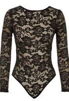 Paige Smith - Long-sleeve Lace Bodysuit Black