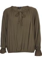 c(inch) - Peasant Detail Blouse Khaki Green
