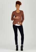 edit Maternity - Long Sleeve Wrap T-shirt Mid Brown