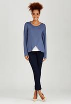 edit Maternity - Long Sleeve Wrap T-shirt Mid Blue