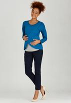 edit Maternity - Long Sleeve Wrap T-shirt Dark Blue