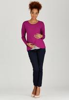 edit Maternity - Long Sleeve Wrap T-shirt Magenta