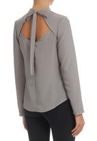 STYLE REPUBLIC - Grey open back blouse Grey