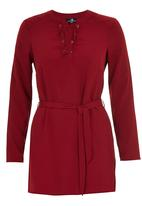 STYLE REPUBLIC - Lace Up Tunic Dark Red