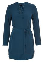 STYLE REPUBLIC - Lace Up Tunic Dark Blue