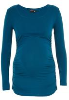 Cherry Melon - Side Gauge Long Sleeve Top Mid Blue