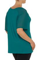 edit - Georgette Raglan-sleeve Top Turquoise