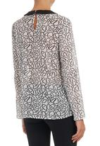 Shoez Group - Blouse with contrast collar Black and White