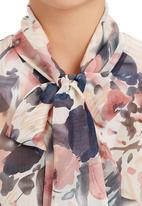 edit - Floral Kitty-bow Blouse Multi-colour