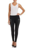 STYLE REPUBLIC - Black PU trim leggings Black