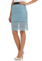 c(inch) - Pencil skirt with lace Pale Blue