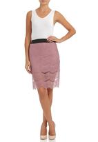 c(inch) - Pencil skirt with lace Pale Pink