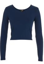 Suzanne Betro - Long-sleeve Crop Top Navy
