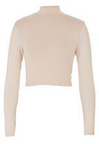 c(inch) - Long-sleeve Mesh Crop Neutral