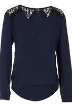 STYLE REPUBLIC - Crossover Lace Blouse Navy