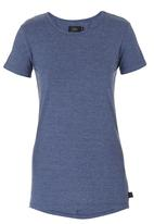 Lithe - Basic T-shirt with Ruching Detail Mid Blue  Mid Blue