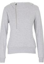 Lithe - Hoodie with Zip Detail Mid Grey Mid Grey