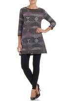 edge - Tunic with Pleather Trim Multi-colour
