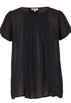 edit - Pleated Blouse Black