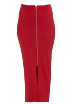STYLE REPUBLIC - Zip-front Tube Skirt Burgundy  Dark Red