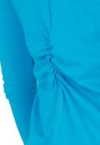 Lithe - Basic Long-sleeve T-shirt with Ruching Detail Mid Blue Mid Blue