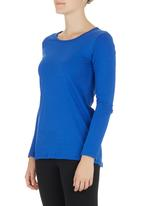 Lithe - Long-sleeve T-shirt with Ruching Detail Mid Blue  Mid Blue