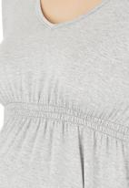 Cherry Melon - Smock Top Long-sleeve Grey Pale Grey