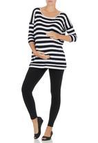 Me-a-mama - Stripe T-shirt Black/Grey