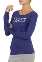 GUESS - Long-sleeve Logo T-shirt Navy