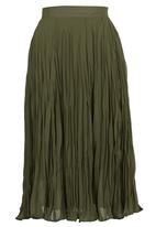 edit - Fatigue Crushed Midi Skirt Dark Green Dark Green
