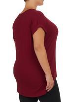 edit - Basic Longer-length T-shirt Dark Red Dark Red