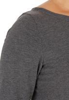 edit - Boat neck 3/4 Sleeve t shirt - Dark Grey