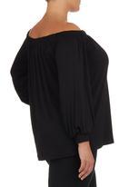 edit - Off-the-shoulder Blouse Black