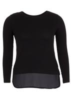 edit - Long-sleeve T-shirt with Georgette Contrast Black