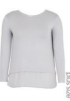 edit - Long-sleeve T-shirt with Georgette Contrast Grey Dark Grey