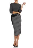 Dusud - Mixed Media Skirt Black