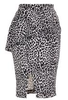 STYLE REPUBLIC - Printed Peplum Midi Skirt Black/White  Black and White