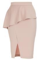 STYLE REPUBLIC - Peplum Midi Skirt Pale Pink Pale Pink