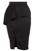 STYLE REPUBLIC - Peplum Midi Skirt Black