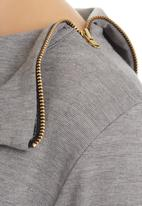 edit - Split-neck Tunic Mid Grey  Mid Grey