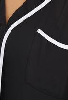 edit - Tipped Blouse Black/White  Black and White