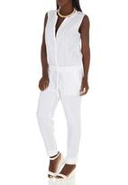 JUST CRUIZIN - Jumpsuit with Drawcord Waist White