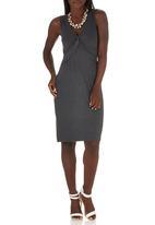 edit - Knot Front Dress Dark Grey