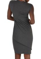 TART - Knit Dress with Shoulder Twist Detail Mid Grey