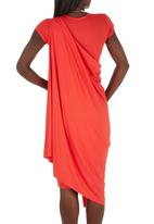 TART - Cap-sleeve Cape Drape Dress Coral