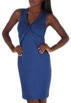 edit - Knot Front Dress Mid Blue