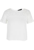 Girls on Film - Floral Lace Bow Back Top White