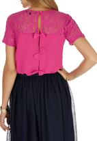 Girls on Film - Floral Lace Bow Back Top Cerise Pink